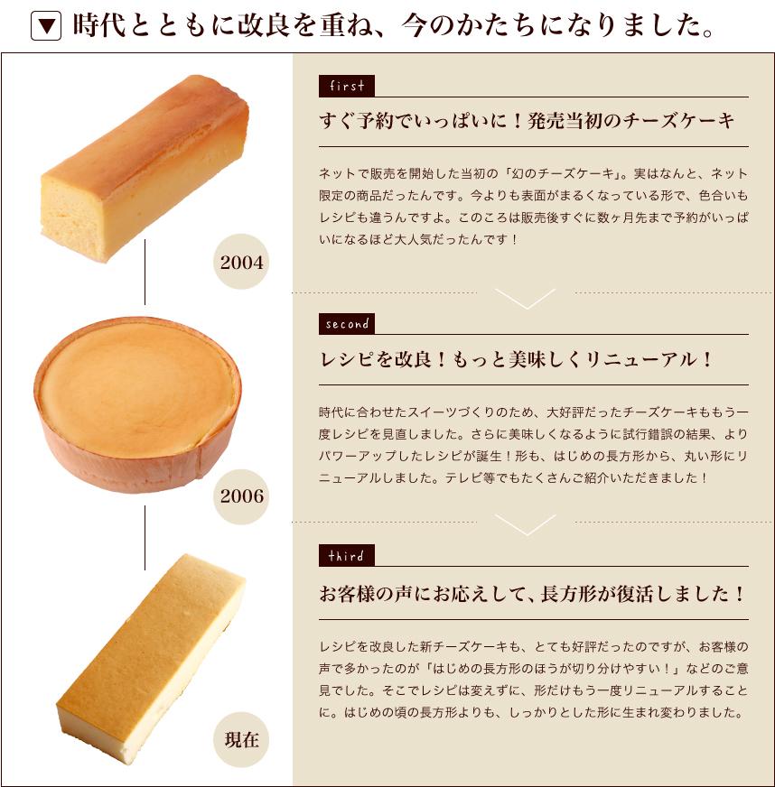 チーズケーキ:時代とともに改良を重ね、今のかたちになりました。